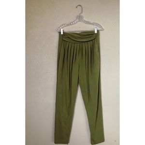 VINTAGE green knit lounge sweatpants Pleated 1990s